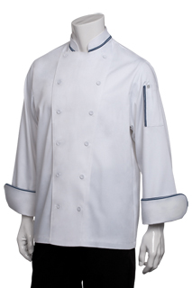 Chef Works, Chef Coat with Navy Blue Piping