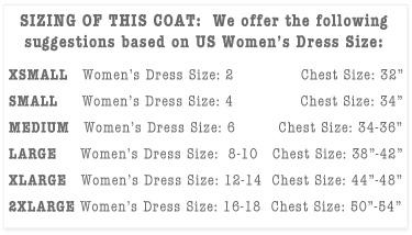 Women's Chef Coats Sizing Chart