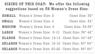 Women's Chef Coat Size Chart