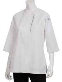 Front of Cool Vent White Chef Works Women's Coat